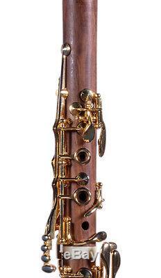 A Clarinet La Boehm FRENCH system Cocobolo wood Gold keys A (La) NEW