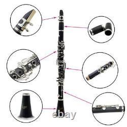 ABS Bakelite 17 Keys Bb Clarinet Black Gift for Beginners Students Kids