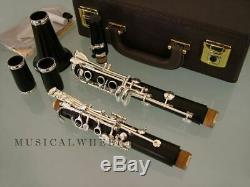 CLARINET SOLID EBONY WOOD Silver Plated Keys Leather Pads Professional Quality