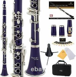 Clarinet (Bb) with2nd Barrel 10 reeds Case Care Kit Purple withSilver Keys