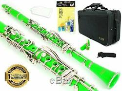 D'Luca 200 Series Green Bb Clarinet 17 Keys with 1 Year Manufacturer Warranty