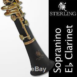 Eb SOPRANINO Black and 24K Gold Clarinet Boehm 17 keys BRAND NEW Case