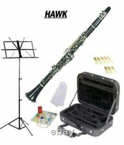 Hawk Black Bb Clarinet Package with Case, Reeds, Music Stand & Cleaning Kit