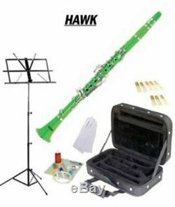 Hawk Green Bb Clarinet Package with Case, Reeds, Music Stand & Cleaning Kit