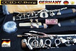 Klarinette deutsches Griffweise 21 Klappen 6 Ringe Holzblasinstrument Ch. Berg