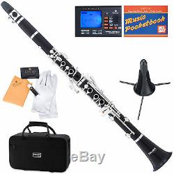 Mendini Bb Clarinet Ebony Wood Body Silver Keys +Tuner+Stand+11Reeds+CaseMCT-40