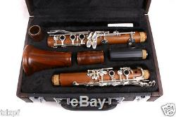 New Professional Clarinet Rosewood Body Silver Plated Key B-flat 17 key Bb
