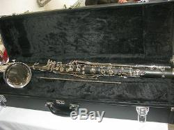 Nice bass clarinet, Bb keys ebonited body, Nickel plated, great tone AC-132 #7019
