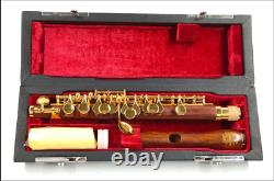 Red Wood Piccolo C Key Gold Plated Clarinet Bassoon Musical Instrument Flute